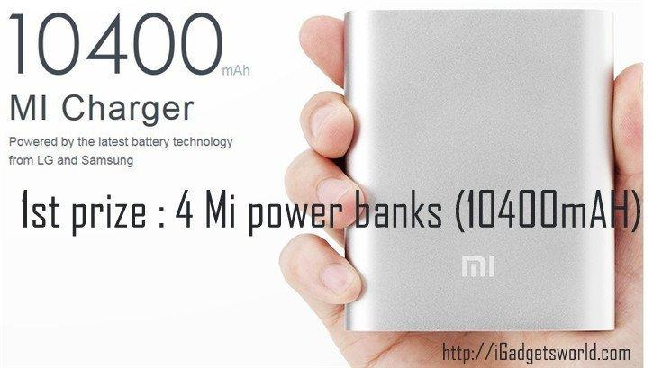 10400 mAh Mi power bank- 1st prize igadgetsworld giveaway