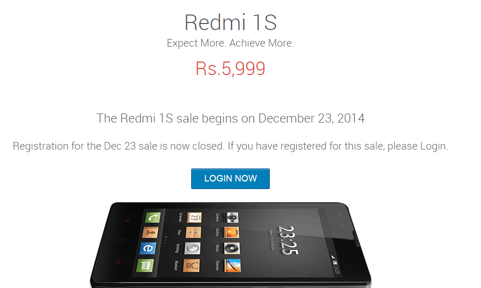 redmi 1s flash sale dec 23rd flipkart