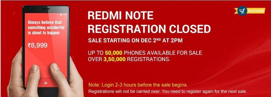 redmi note first flash sale dec 2nd 50k units, 3.5 lakhs users