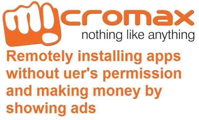 Micromax installing apps without permission