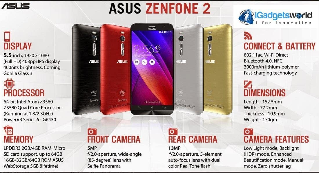 asus zenfone 2 top 5 things to know about asus zenfone 2 igadgetsworld. Black Bedroom Furniture Sets. Home Design Ideas