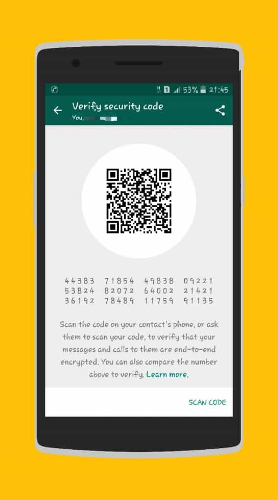 WhatsApp Messenger End to End encryption - Scan security code