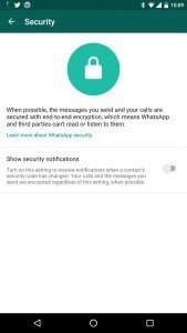 WhatsApp Messenger End to End encryption - security settings