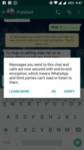 WhatsApp Messenger End to End encryption - showing popup to verify encryption