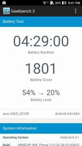 Asus ZenFone Max 2 - 2016 - GeekBench -Battery Test Result