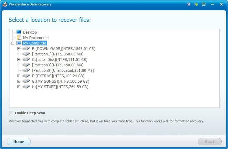 Wondershare Data Recovery Locations to recover